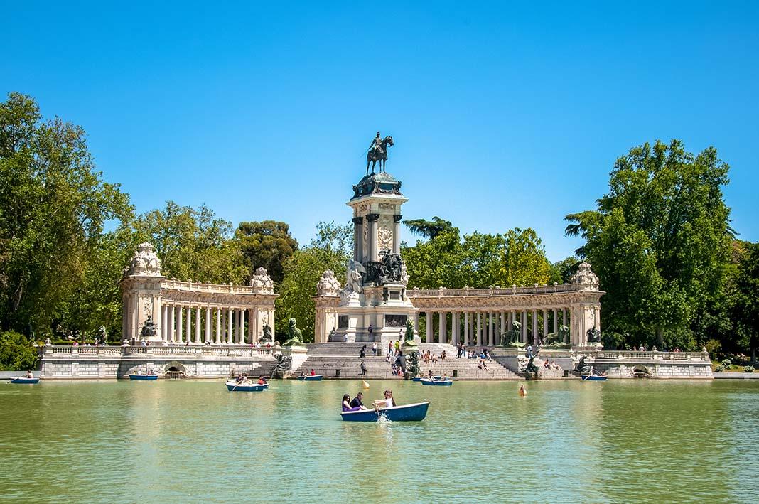 El Retiro is a very elegant district to stay in Madrid