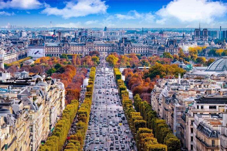 Champs Elysées, one of the best areas to stay in Paris